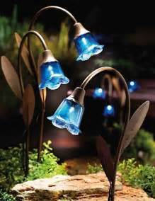 solar light decorations set of 3 blue bell stake solar lawn lights garden decor