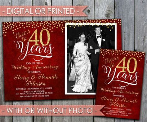 40th wedding anniversary invitations best 25 ruby wedding anniversary ideas on