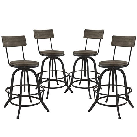 Bar Stools With Backs Set Of 4 by Set Of 4 Procure Industrial Bar Stool W Wood Seat Backs