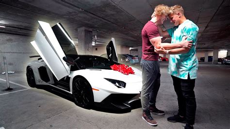 jake paul lamborghini i bought my brother his dream car lamborghini aventador