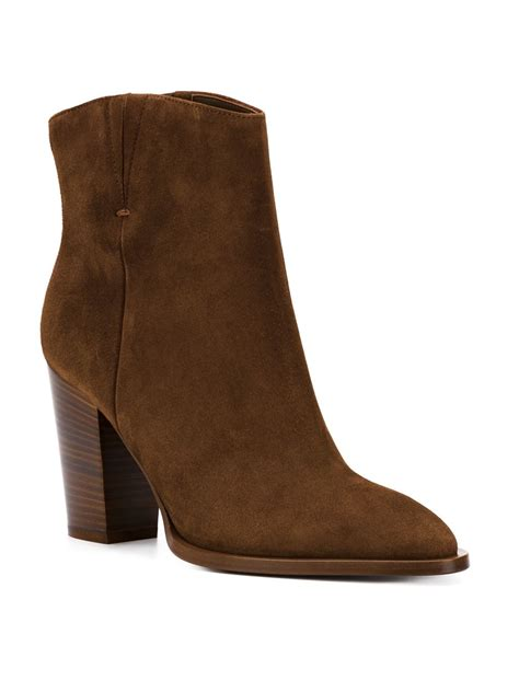 chunky ankle boots vince chunky heel suede ankle boots in brown lyst