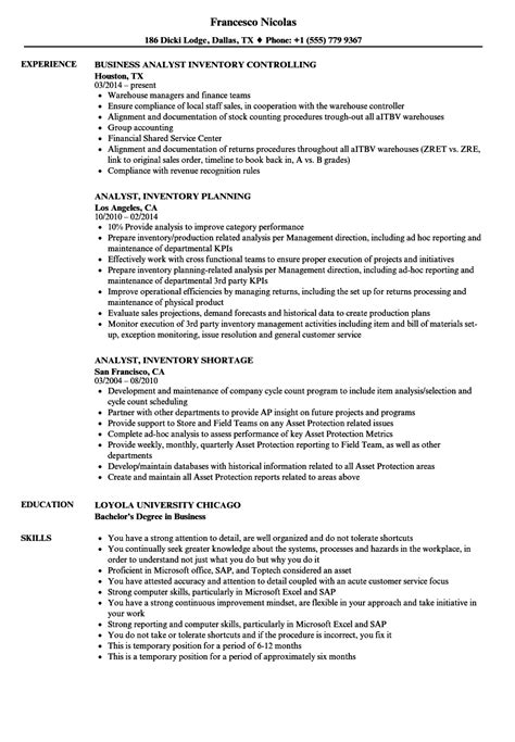 inventory analyst resume sle resumes resumewriting inventory analyst resume best resume exle church