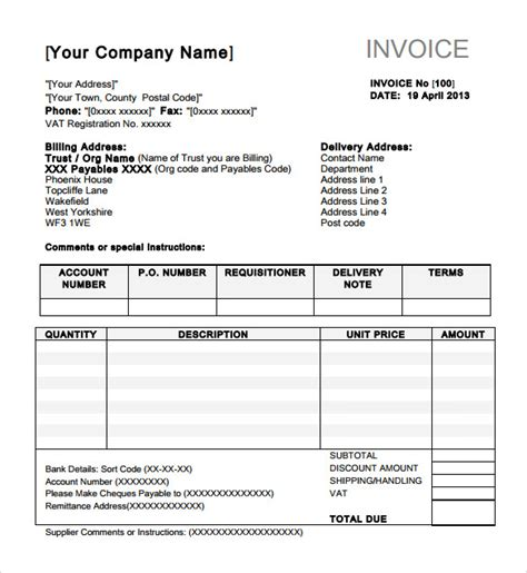 indesign invoice template free sle indesign invoice template 7 free
