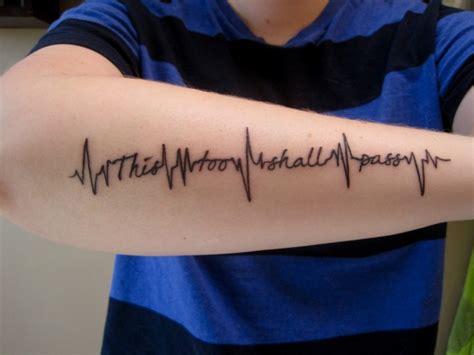 heartbeat tattoo on forearm unusual life heartbeat tattoo quote on arm tattooimages biz