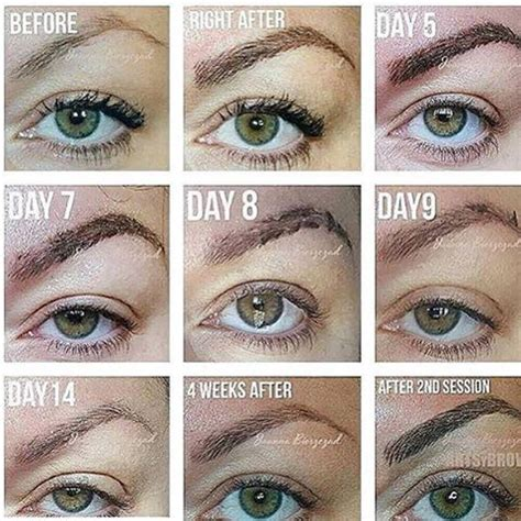 tattoo eyeliner process microblading healing process eyebrows pinterest