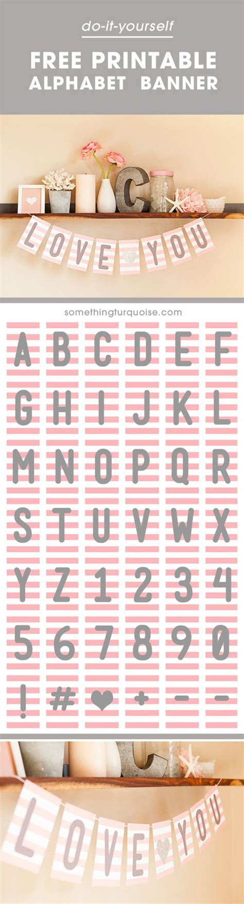 number templates for banners free pink gray printable alphabet and number banner