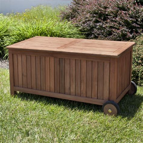 Outside Storage Bench 4 Ft Teak Outdoor Storage Bench On Wheels Outdoor