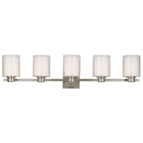 Designer Vanity Lighting Design House Oslo 5 Light Brushed Nickel Vanity Light 556175 The Home Depot