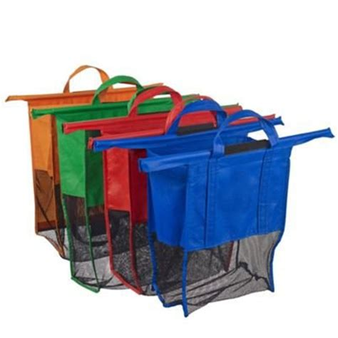 Gratis Ongkir Supermarket Trolley Organizer Bag Shopping Bag 4 pack trolley bags eco friendly reusable grocery bags for shopping carts detachable
