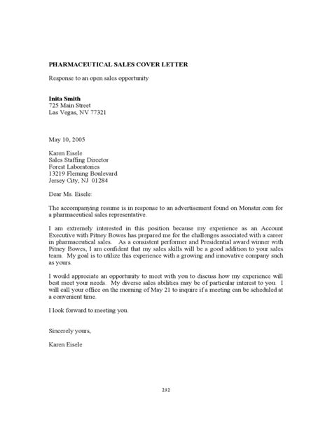 pharmaceutical sales cover letter pharmaceutical sales