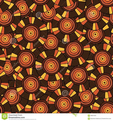 block print african green and orange wallpaper circular tribal pattern in brown tones with motifs of an