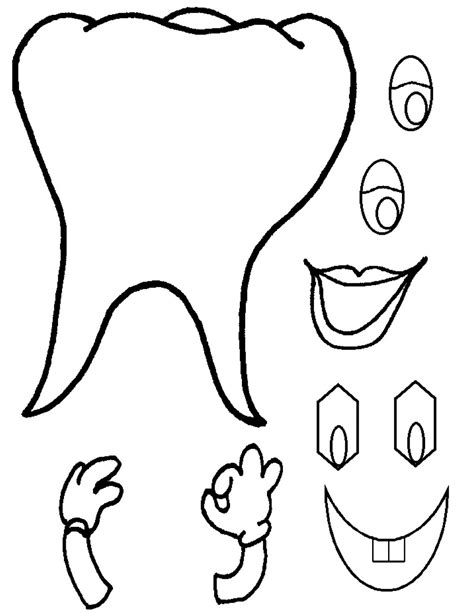 template of a tooth the kid dentist crafts for