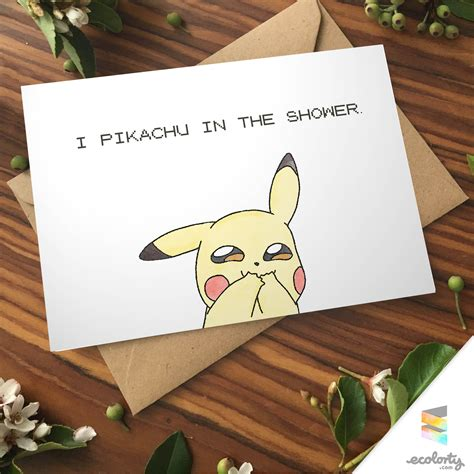 His And Geeky Computer Gifts For Valentines Day by Greeting Card Pikachu Shower Go Pun