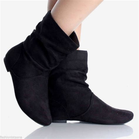 new fux suede ankle mid calf low flat heel slouch