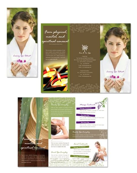 natural day spa massage tri fold brochure template spa