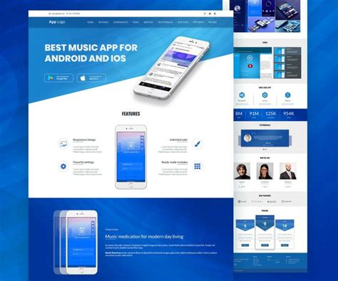 Free Mobile Site Template by Mobile App Landingpage Template Psd Psd