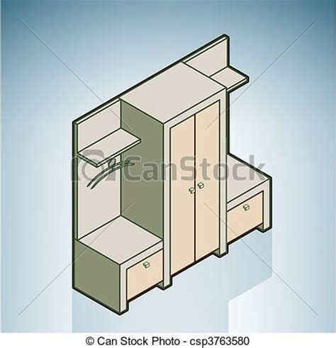 How To Draw 3d Furniture by Vector Clipart Of Wall Unit Part Of The Modern Furniture