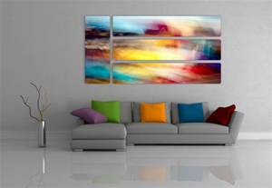 colorful wall decor abstract prints on aluminum contemporary living room