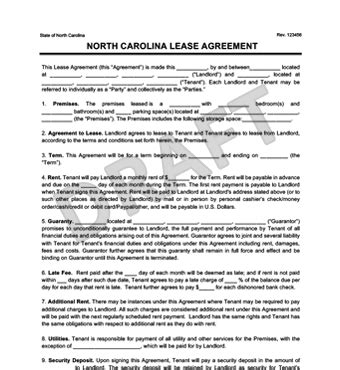 North Carolina Residential Lease Agreement Create Download Nc Residential Rental Agreement Template