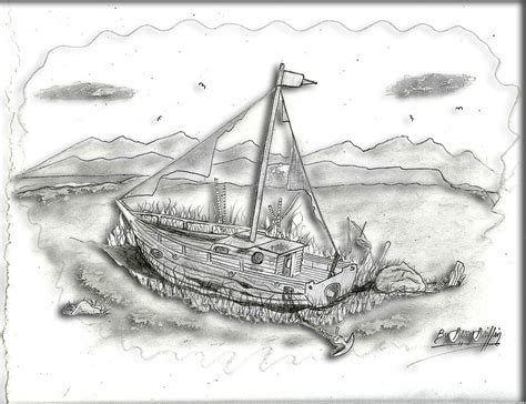 old boat drawing old boat left in time digital art by gerald griffin