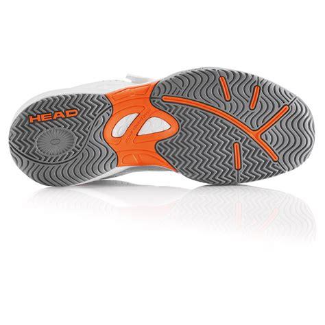 laser velcro junior tennis shoes white orange