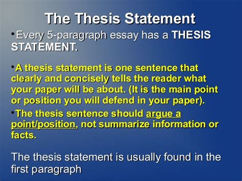 Thesis Statement For Essay by Thesis Statement Writer