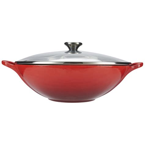 le crueset wok le creuset cast iron wok with glass lid 32cm cerise