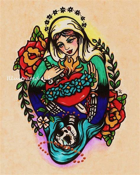 tattoo angel old school jour de la mort vierge marie old school tattoo art print 5 x