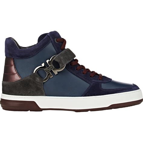 salvatore ferragamo sneakers lyst ferragamo s nayon sneakers in blue for