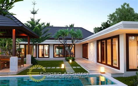 desain rumah villa tropis desain villa 1 lantai bergaya bali tropis jasa arsitek