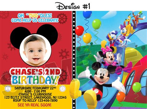 mickey mouse clubhouse invitations template mickey mouse clubhouse birthday photo invitations