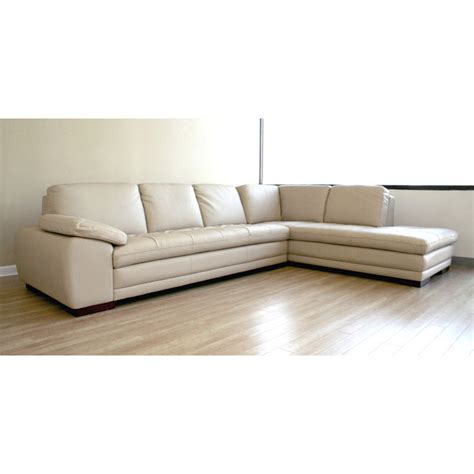 Beige Leather Chaise Lounge Diana Beige Leather Sofa With Chaise Dcg Stores