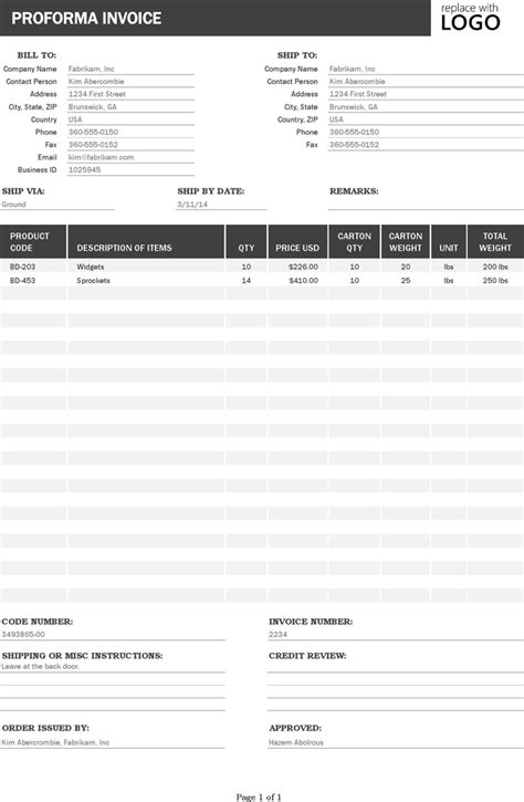 invoice template for asp net free proforma invoice xlsx 45kb 1 page s