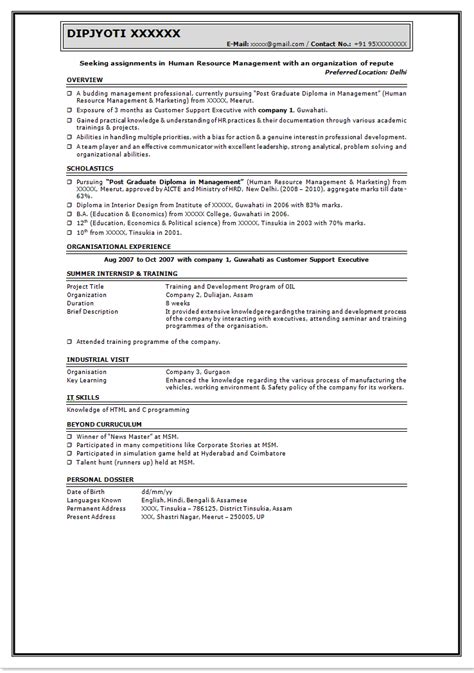 best resume format for freshers best resumes for freshers sle