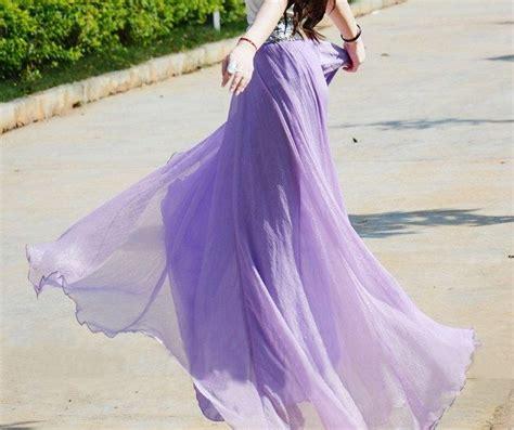 Dress Wanita Azzurra 348 48 s lavender purple silk chiffon 8 meters of skirt circumference dress maxi skirt qz02