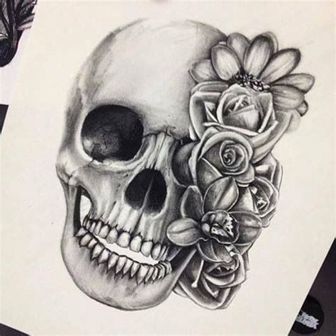 skull and roses love the black and gray amazing ink