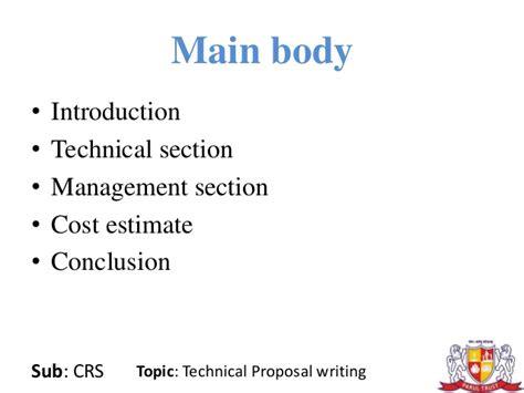 crs after c section technical proposal writing