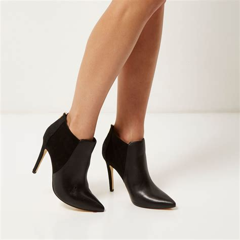 heeled pointed boots lyst river island black leather pointed heeled ankle