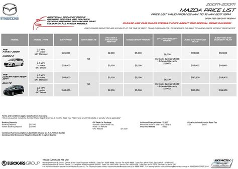 Toyota Car Price List Singapore Singapore Motorshow 2017 Mazda Price List Deals