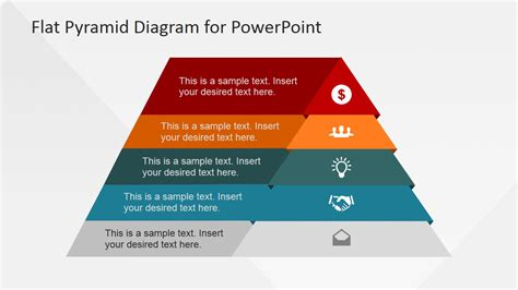 5 Levels Flat Pyramid Diagram Template For Powerpoint Slidemodel Pyramid Powerpoint Template