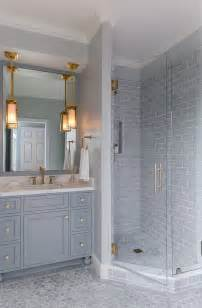 grey bathroom fixtures white kitchen with stacked cabinets and grey island home