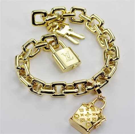 Charm Gold louis vuitton solid 18k gold charm bracelet with purse