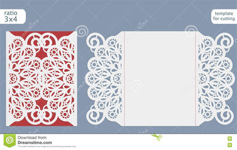 Laser Cut Wedding Invitation Card Template Cut Out The Paper Card With Lace Pattern Greeting Card Cut Out Template