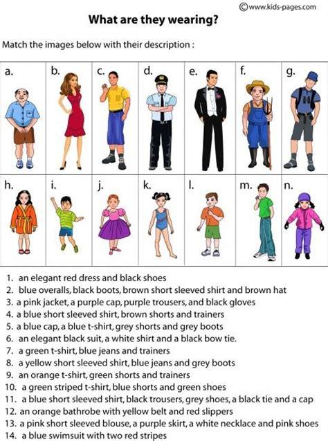 esl worksheets describing clothes clothes