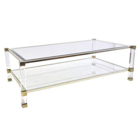 Lucite And Glass Coffee Table Vandel Chrome Lucite And Glass Coffee Table At 1stdibs