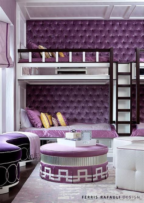 built  bunk beds  purple velvet tufted walls