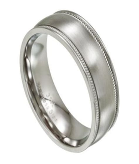 mens wedding bands stainless steel s stainless steel wedding band milgrain edge 8mm width