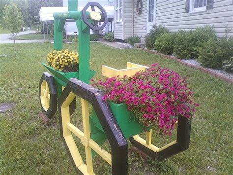 landscape timber tractor  flowers woodworking