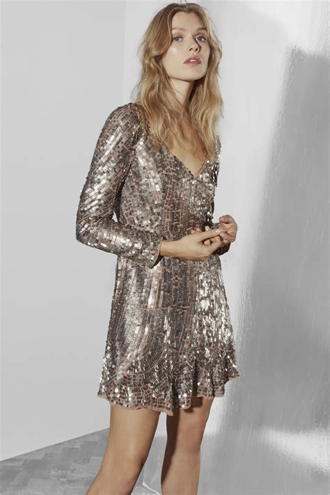 Be Bold With The Creta Dress From Connection by Aurelie Sequin V Neck Dress Collections Connection
