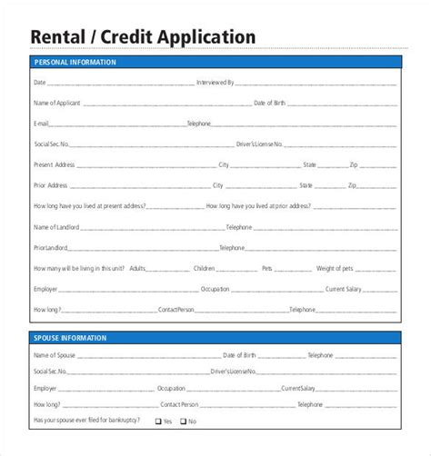 rental credit application template credit application template 32 exles in pdf word